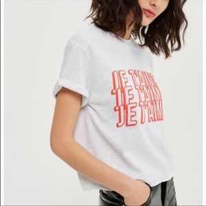 TOPSHOP Gray JE T'AIME Graphic Crop Top Large